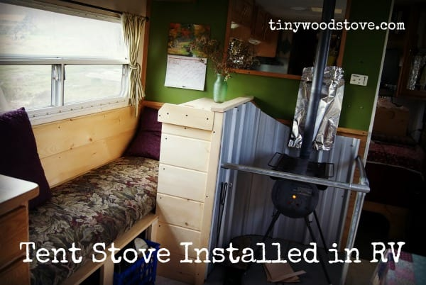 Off-Grid Family use a $50 Tent Stove to Heat RV