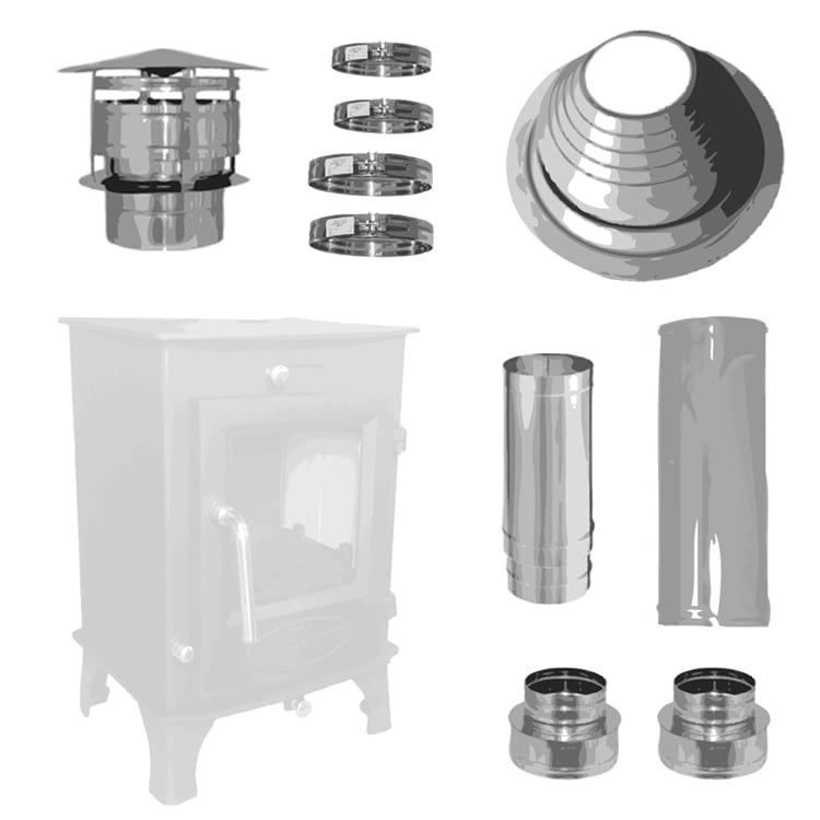 "4inch Small Stove Installation Kit - 4"" Small Stove Pipe Installation Kit Tiny Wood Stove"